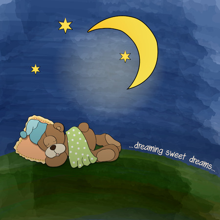 baby teddy bear sleeping on grass, vector illustration Stock Vector - 26366953