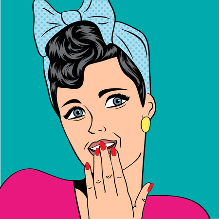 cute retro woman in comics style, vector illustration Vector