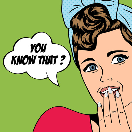 girl mouth open: cute retro woman in comics style, vector illustration
