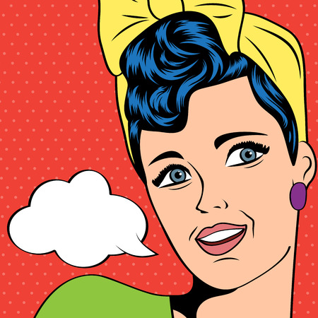 woman open mouth: cute retro woman in comics style, vector illustration