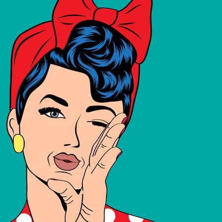 cute retro woman in comics style, vector illustration Vector
