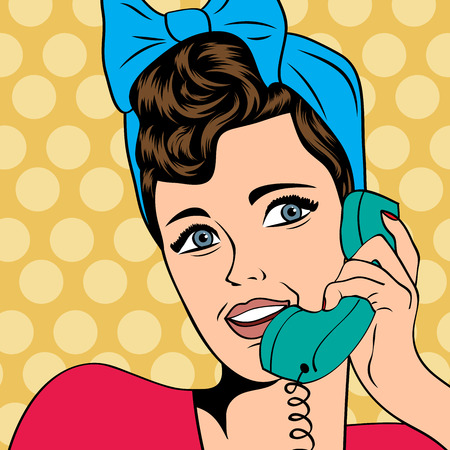 vrouw chatten op de telefoon, pop art in vectorformaat