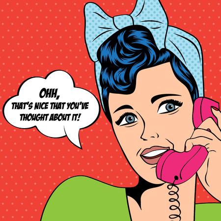 retro art: vrouw chatten op de telefoon, pop art in vectorformaat