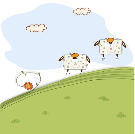 two cheerful sheep jumping on grass, vector illustration Vector