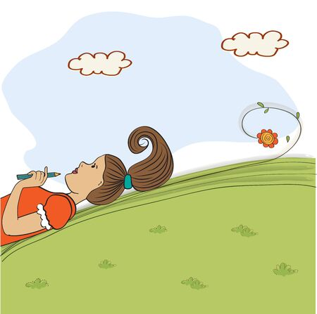 woman lying down: bored young girl lying on grass, vector illustration