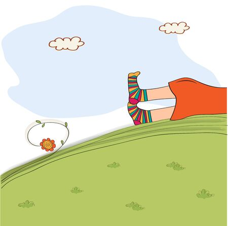 lounging: bored girl legs lying on the grass, vector illustration Illustration