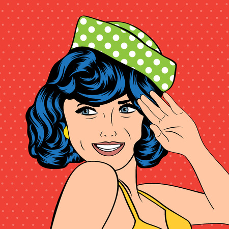 cute retro woman in comics style, vector illustration