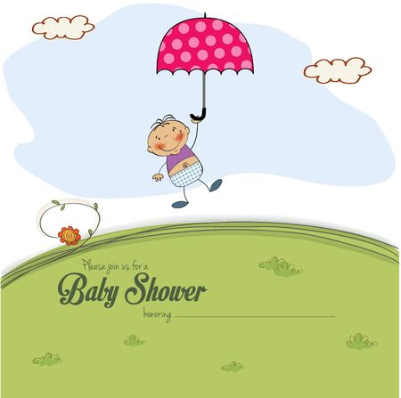 baby shower card with a boy who lands on a meadow, vector illustration Vector