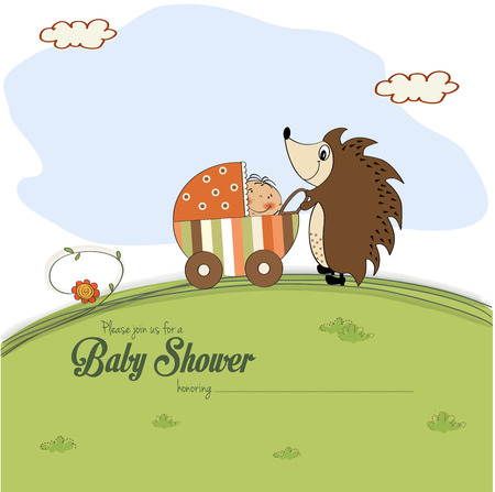 baby shower card with a hedgehog that pushes a stroller with baby, vector illustration Vector