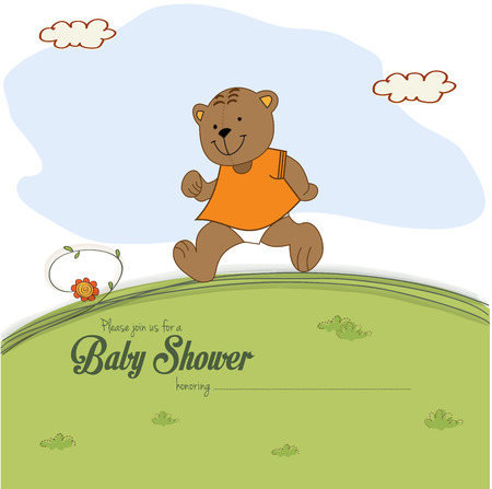 rushed: baby shower card with teddy bear chasing rushed to event, vector illustration Illustration