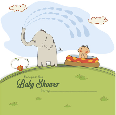 baby shower card with a small boy sprayed by an elephant, vector illustration Vector
