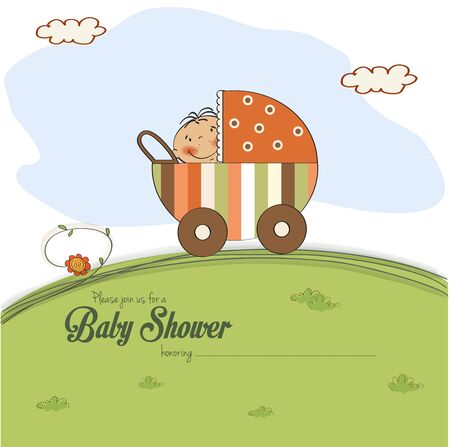 baby shower card with little boy, vector illustration Vector