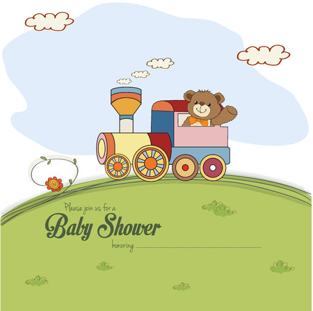 baby boy announcement: baby shower card with teddy bear, vector illustration Illustration