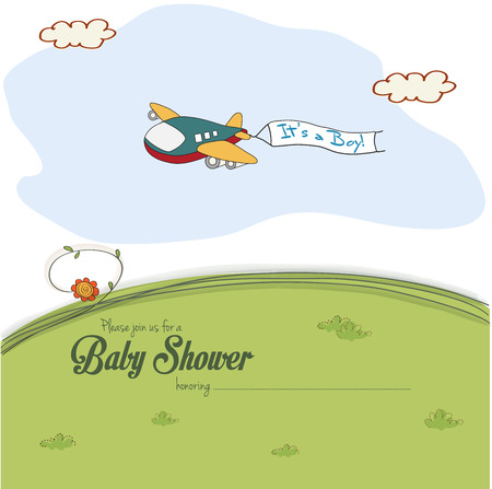 baby shower card with cute plane, vector illustration Vector