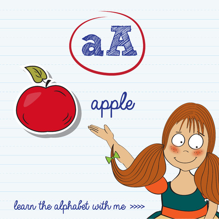 alphabet worksheet of the letter a, vector illustration Vector