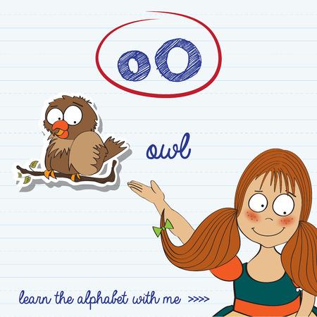 alphabet worksheet of the letter o, vector illustration Vector