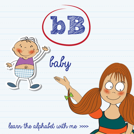 alphabet worksheet of the letter b, vector illustration Vector