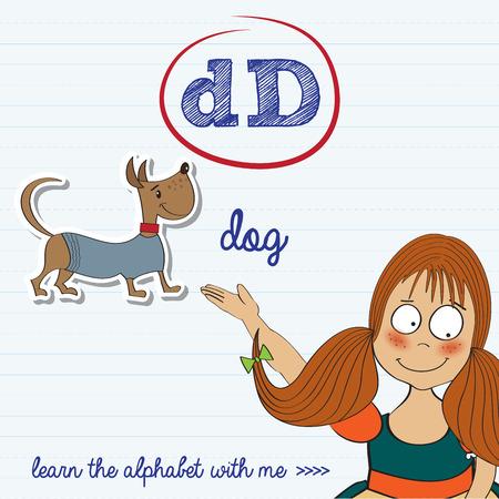 alphabet worksheet of the letter d, vector illustration Vector
