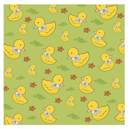 ducky: seamless background with  rubber duck, vector illustration