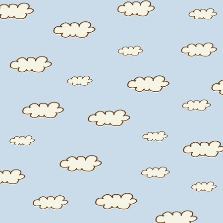 seamless background with cartoon clouds, vector illustation Vector