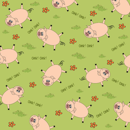 seamless background with funny pigs, vector illustration Vector