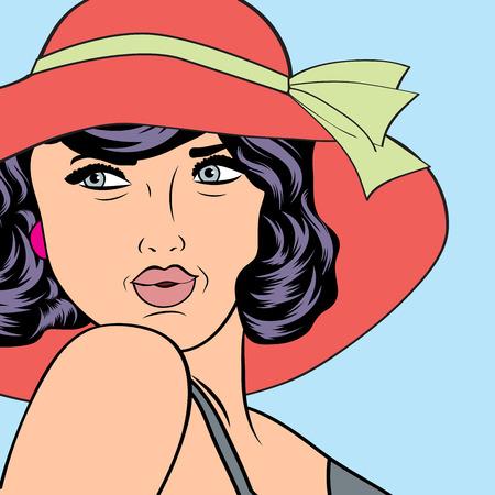 popart retro woman with sun hat in comics style, vector summer illustration 일러스트