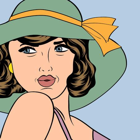 popart retro woman with sun hat in comics style, vector summer illustration Illustration