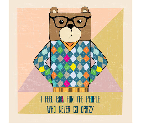 cool bear hipster, hand draw illustration in vector format Vector