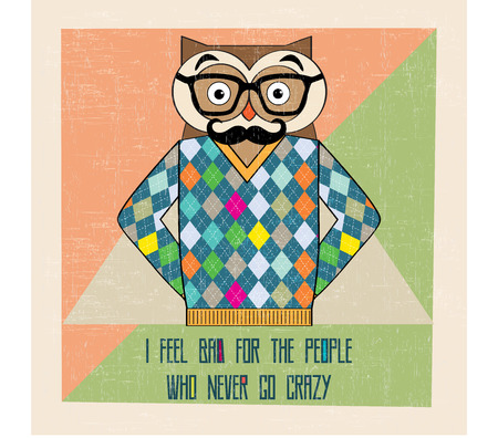 cool owl hipster, hand draw illustration in vector format Vector
