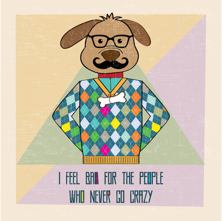 cool dog hipster, hand draw illustration in vector format Vector