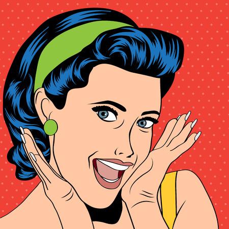 femme bouche ouverte: popart femme dans le style de la bande dessinée, illustration vectorielle Illustration