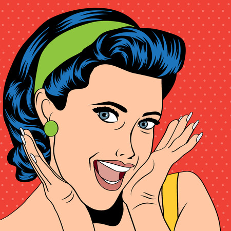 word of mouth: popart woman in comics style, vector illustration