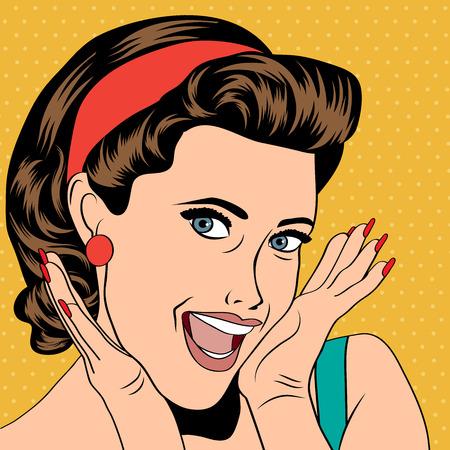 bouche homme: popart femme dans le style de la bande dessinée, illustration vectorielle Illustration