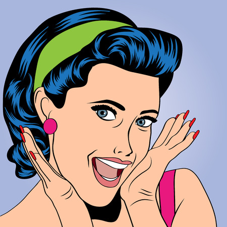 girl mouth open: popart woman in comics style, vector illustration