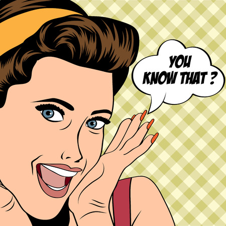 mouth open: popart woman in comics style, vector illustration