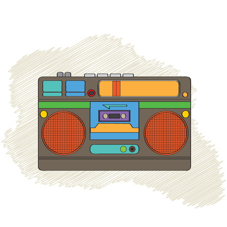 boombox: Vintage boom-box isolated on white background, vector illustration Illustration