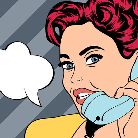 arte: Mujer hablando por teléfono, ejemplo del arte pop en formato vectorial