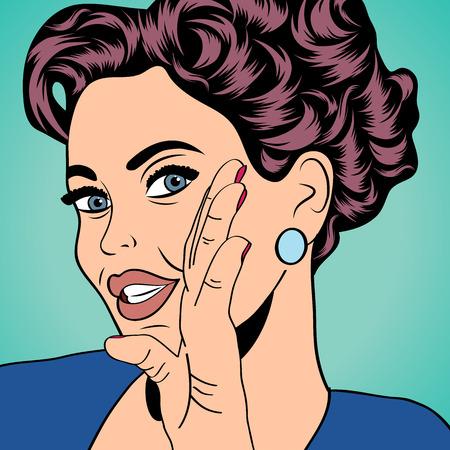 pop art retro woman in comics style, vector illustratation Vector