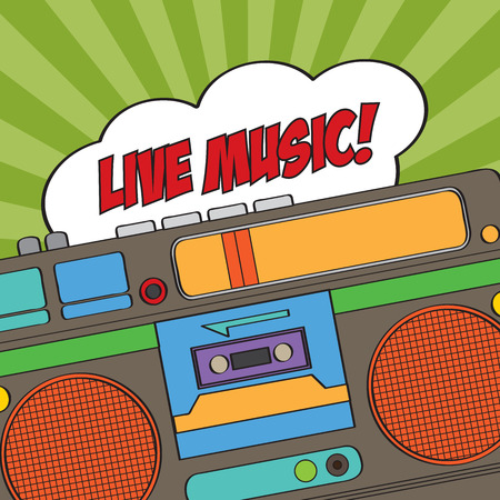 musical background with retro boom-box, vector illustration Vector