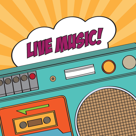 boombox: musical background with retro boom-box, vector illustration