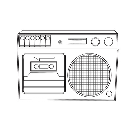 Vintage boom-box isolated on white background, vector illustration Illustration