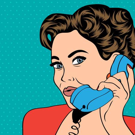 Vrouw chatten op de telefoon, pop art illustratie in vector-formaat Stockfoto - 27427430