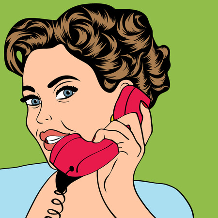 head phones: woman chatting on the phone, pop art illustration in vector format