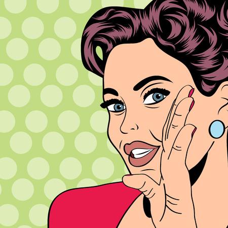 boca abierta: Mujer del arte pop retro de estilo cómic, vector illustratation