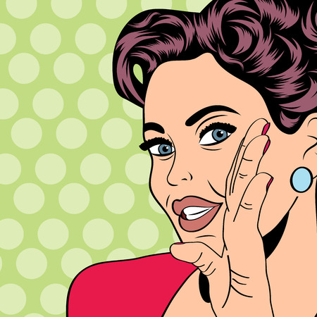 word of mouth: pop art retro woman in comics style, vector illustratation