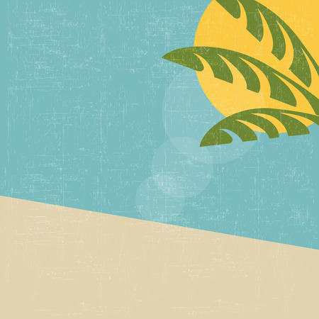 retro summer landscape, vector background