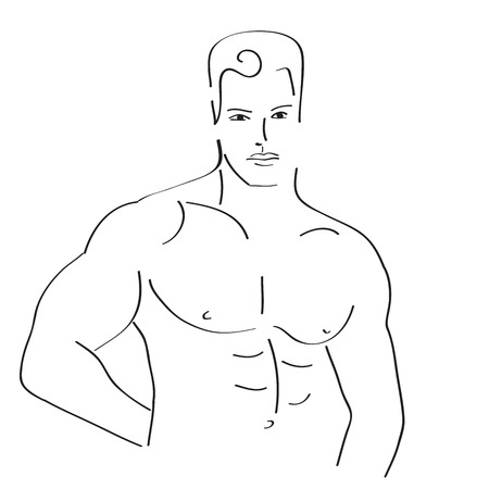 sexy man sketch, vector illustration Vector
