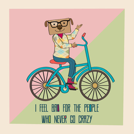 Hipster poster with nerd dog riding bike, vector illustration Vector