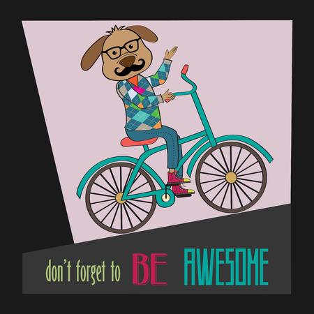 bike cover: Hipster poster with nerd dog riding bike, vector illustration
