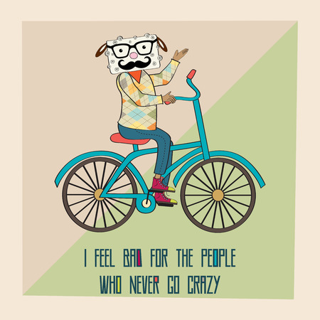 Hipster poster with nerd sheep riding bike, vector illustration Vector